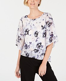 Alex Evenings Petite Floral-Print Tiered Top