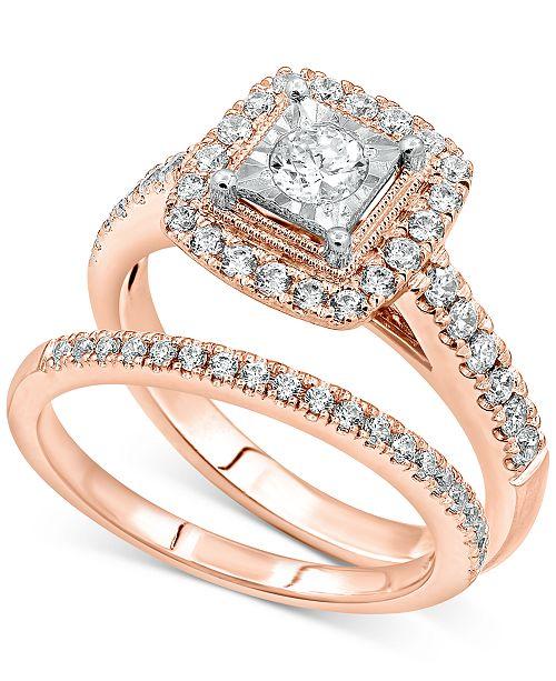 Macy's Diamond Bridal Set (3/4 ct. t.w.) in 14k Rose Gold