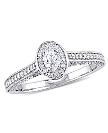 Certified Diamond (3/4 c.t. t.w.) Oval-Shape Raised Halo Engagement Ring in 14k White Gold
