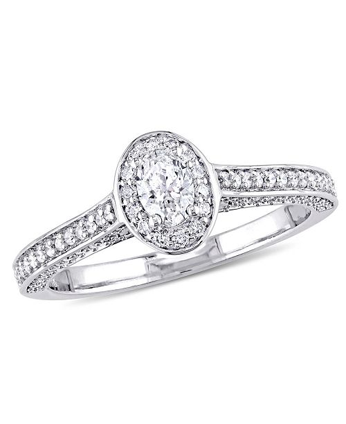 Macy's Certified Diamond (3/4 c.t. t.w.) Oval-Shape Raised Halo Engagement Ring in 14k White Gold