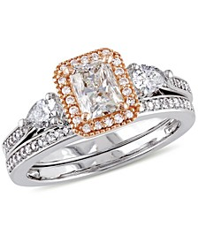 Certified Diamond (1-1/3 ct. t.w.) Radiant-Shape Bridal Set in 14k White and Rose Gold