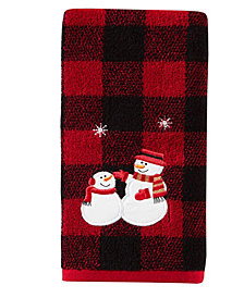 Snowmen Plaid 2-Pc. Hand Towel Set