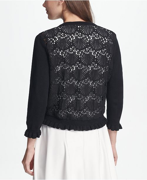cb313c6cc1 DKNY Open Front Cardigan with Lace Back