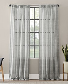 "Textured Slub Stripe Anti-Dust Curtain Panel, 52"" x 63"""