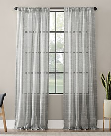 "Clean Window Textured Slub Stripe Anti-Dust Curtain Panel, 52"" x 63"""