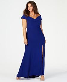 c934e245294cc XSCAPE Plus Size Off-The-Shoulder Gown