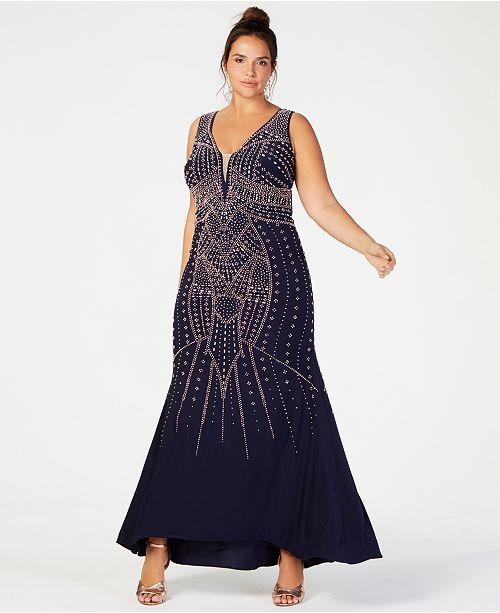 87f83198826be XSCAPE Plus Size Beaded Gown   Reviews - Dresses - Women - Macy s