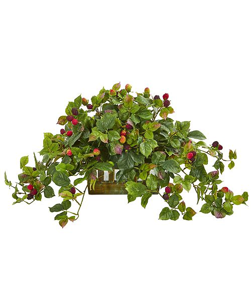 Nearly Natural Deluxe Raspberry Artificial Plant in Decorative Planter