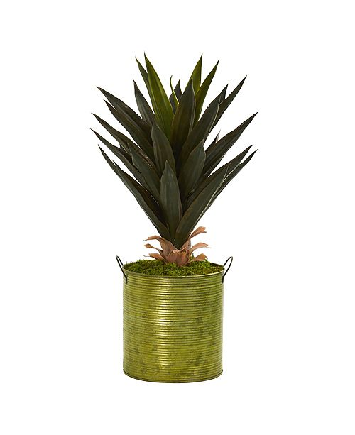 """Nearly Natural 23"""" Agave Artificial Plant in Green Metal Planter"""