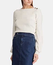Lauren Ralph Lauren Petite Bishop-Sleeve Ribbed Sweater