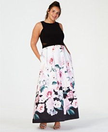 XSCAPE Plus Size Solid Top Floral-Print Skirt Gown