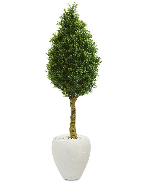 Nearly Natural 4.5' Boxwood Cone Topiary Artificial Tree in White Oval Planter UV Resistant