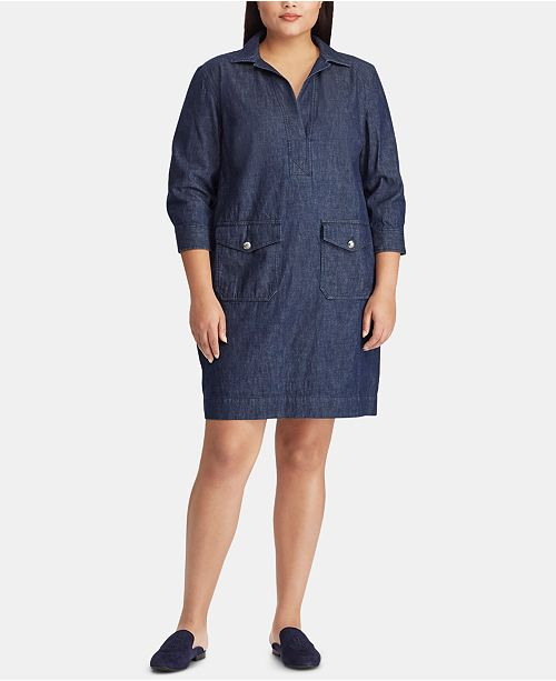 Lauren Ralph Lauren Plus Size Denim Cotton Shift Dress ...