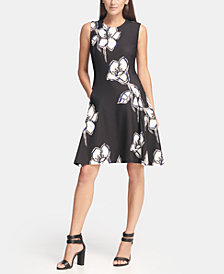 DKNY Floral Print Fit and Flare Dress, Created for Macy's