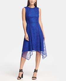 DKNY Geo Lace Handkerchief Hem Dress, Created for Macy's