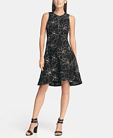 DKNY Fit & Flare Mesh Dress with Logo Zipper, Created for Macy's