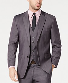 Men's Portfolio Slim-Fit Stretch Gray Solid Suit Jacket