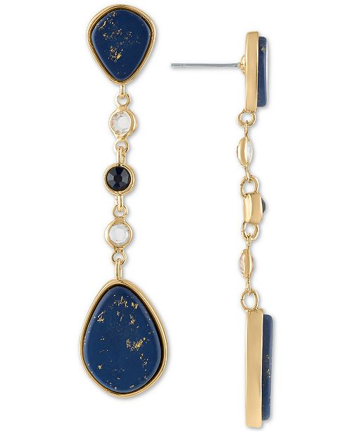 RACHEL Rachel Roy Gold-Tone Crystal & Stone Linear Drop Earrings