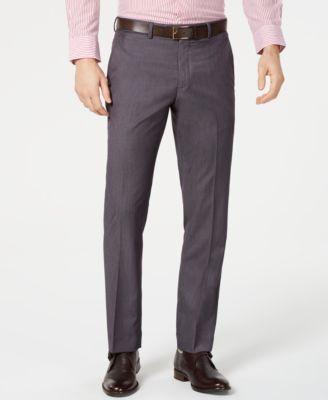 Men's Portfolio Slim-Fit Stretch Gray Solid Suit Pants