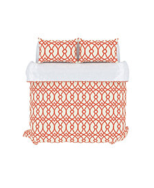 Piper Duvet Cover Set, Full/Queen, Coral