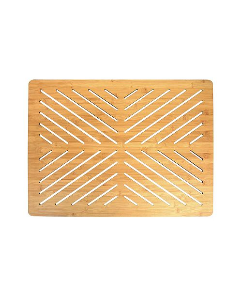 Oceanstar Bamboo Floor and Bath Mat with Non-Slip Rubber Feet