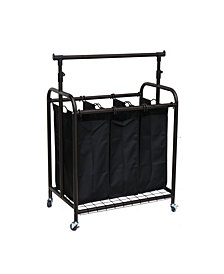 Oceanstar 3-Bag Rolling Laundry Sorter with Adjustable Hanging Bar