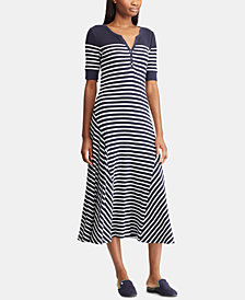 Lauren Ralph Lauren A-Line Striped Cotton Dress