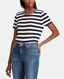 Lauren Ralph Lauren Striped Embroidered T-Shirt
