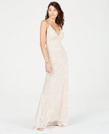 Jump Juniors' Spaghetti-Strap Beaded Gown
