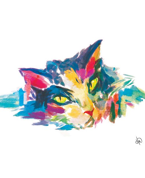 "Creative Gallery Colorful Watercolor Cat Portrait in Cobalt 16"" x 20"" Metal Wall Art Print"