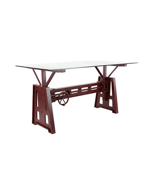 Rosemary Lane Modern Rectangular Red Metal And Wood Dining Table By Studio 350