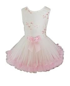 Popatu Little Girl Ivory Flower Soutache Tulle Dress