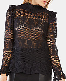 BCBGMAXAZRIA Ruffled Lace Top