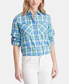 Lauren Ralph Lauren Petite Plaid Roll Tab Cotton Shirt