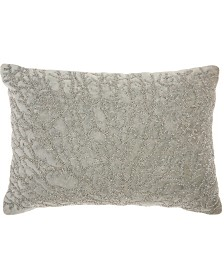 """Studio NYC Collection """"Beaded Coral Velvet"""" Fossil Throw Pillow by Mina Victory"""