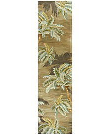 """Sparta Palm Trees 3102 Moss 2'6"""" x 10' Runner Area Rug"""