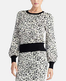 RACHEL Rachel Roy Crewneck Leopard-Print Sweater, Created For Macy's