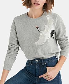 Lucky Brand Embroidered-Crane Sweatshirt