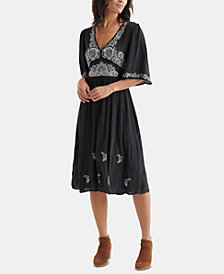 Lucky Brand Embroidered Flutter-Sleeve Dress