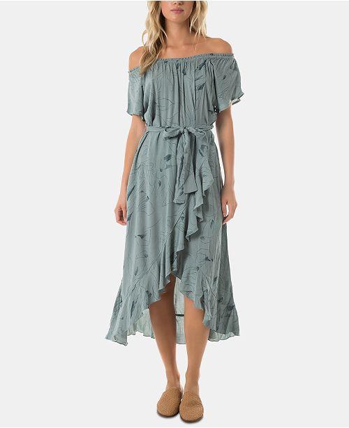 O'Neill Juniors' Connie Ruffled Off-The-Shoulder Dress