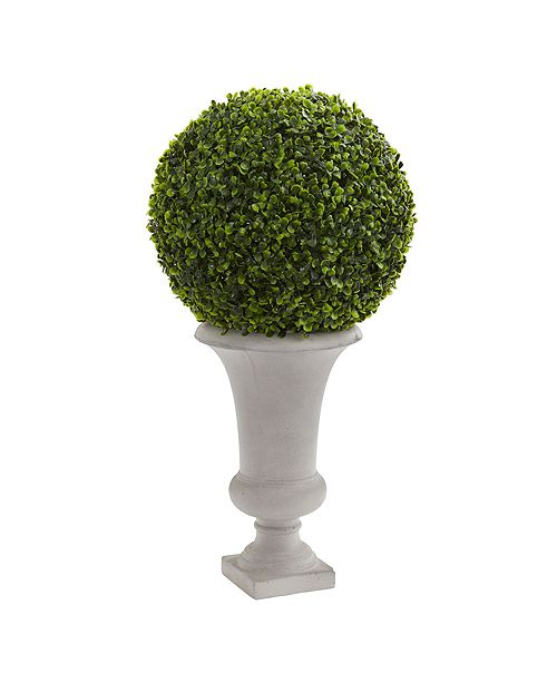 "Nearly Natural 28"" Boxwood Ball Topiary Artificial Plant in Urn"