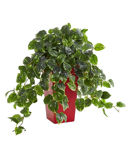 Nearly Natural Pothos Artificial Plant in Red Planter UV Resistant