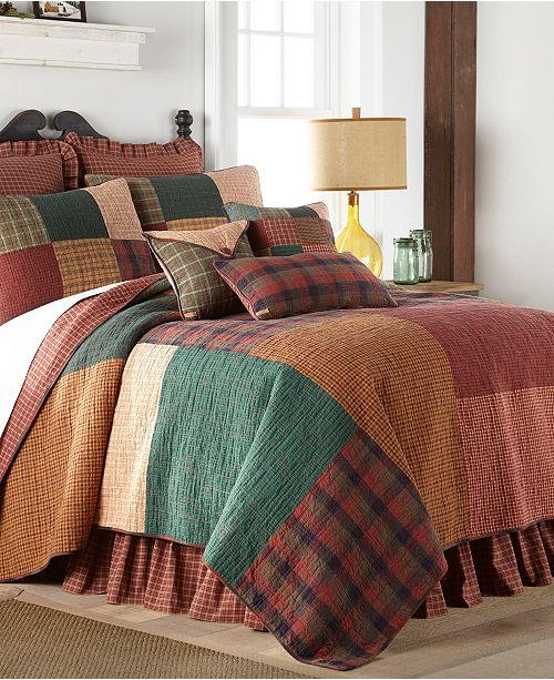 American Heritage Textiles Campfire Square Cotton Quilt Collection, Queen