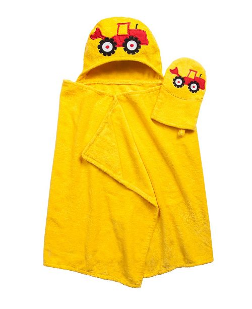 American Dawn Tub Time Tots Hooded Kids Bath Wrap with Mitt - 2 Piece Set