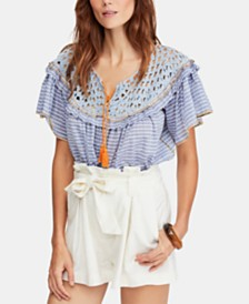 Free People Allora Allora Cotton Striped Ruffled Top
