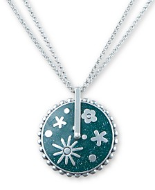 "Lucky Brand Silver-Tone Flower Inlay Double Chain Pendant Necklace, 30"" + 2"" extender"