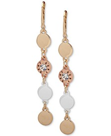 Tri-Tone Crystal & Logo Disc Linear Large Drop Earrings, Created for Macy's
