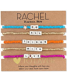 Two-Tone 5-Pc. Set Do All Things With Love Beaded Stretch Bracelets