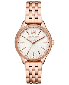 Michael Kors Women's Lexington Rose Gold-Tone Stainless Steel Bracelet Watch 36mm
