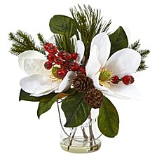 Magnolia, Pine, and Berry Holiday Arrangement in Glass Vase